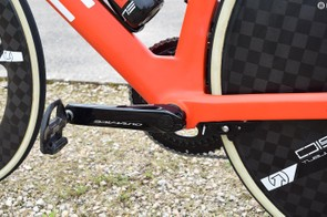 A look at the bottom-bracket area on the non-drive side of the bike