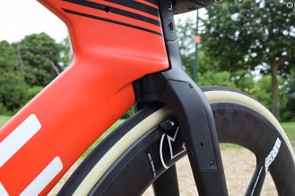 Many time-trial bikes integrate their front brakes into the forks for improved aerodynamics