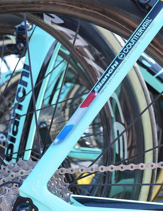 The artwork on both Roglič and Groenewegen's bikes were hand-painted by Bianchi in Italy