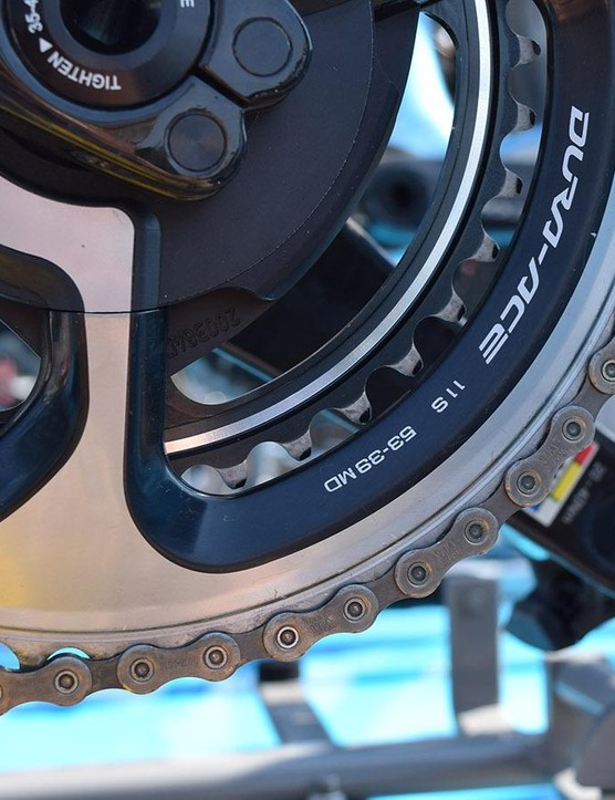 Standard 53/39 chainrings are used by Bardet