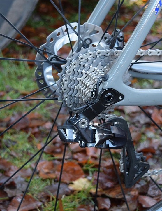 The Dura-Ace R9150 rear derailleurs hug the wheel, reducing the risk of impact in a crash or collision while racing