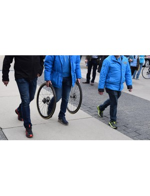 Shimano's neutral service staff was also prepared for the disc brake equipped bikes in the race