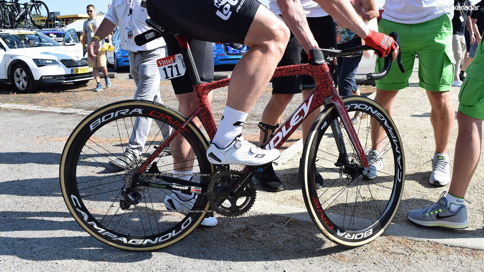 Andre Greipel raced on the new Ridley Noah aero bike equipped with Campagnolo disc brakes for the first time at the Tour de France