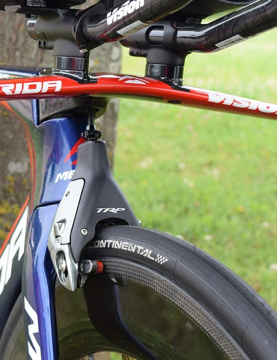 The front brake on Nibali's Merida Warp is the aero TRP T860