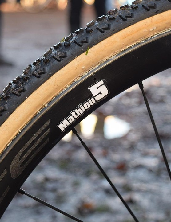 Mathieu van der Poel's wheels are marked separately from his teammates