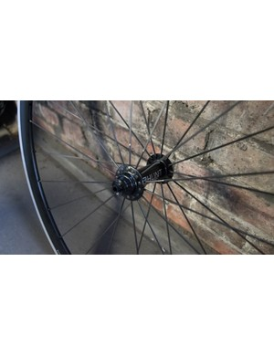 The front hub is straight laced with 28 spokes