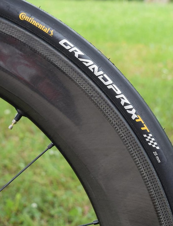 Bahrain-Merida pair the Fulcrum wheels with 25mm Continental Grand Prix TT tyres