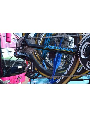 Astana is another team to use CeramicSpeed's OSPW system, also note the Shimano Ultegra chain and cassette as opposed to the lighter weight Dura-Ace components