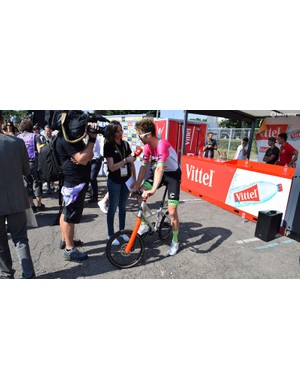 Taylor Phinney rode an unconventional bike to sign-on for several stages of the race