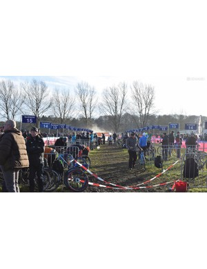 A look at the pits during the Women's Elite race