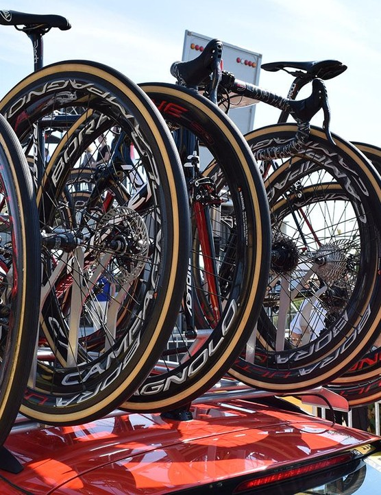 The two Lotto-Soudal riders on discs meant the team car needed a mix of spare wheels