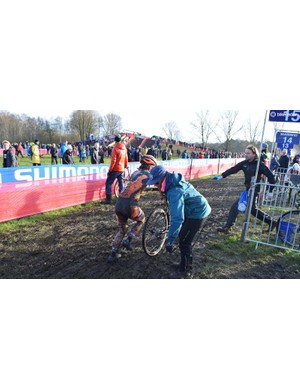 A bike change during the Women's Elite race