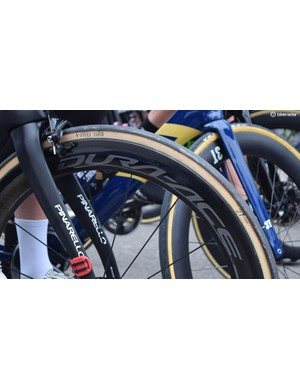 Ian Stannard's Pinarello was equipped with handmade, 27mm FMB Paris-Roubaix tubular tyres