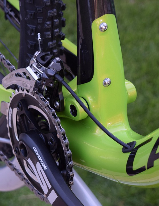 Front derailleur mounting points behind the crank keep things smooth