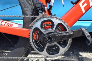 The SRM Origin crankset is paired with Shimano Dura-Ace 9000 series chainrings