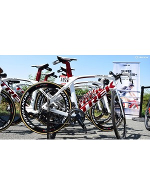 The new Trek Madone Disc was seen for the first time during last month's Criterium du Dauphine