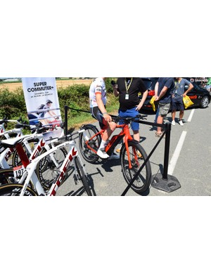 The Trek-Segafredo riders took turns to ride to sign-on each day on an e-bike from the American bike manufacturer