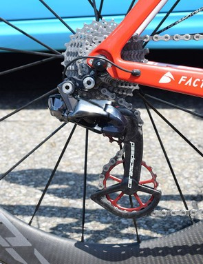 AG2R La Mondiale is one of several WorldTour teams to use CeramicSpeed's OSPW system, with Dillier receiving custom red jockey wheels to match his frame