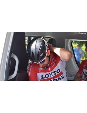 Thomas De Gendt models Lotto-Soudal's new HJC aero helmets