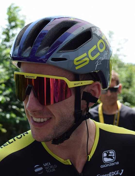 Adam Yates wore the Scott Cadence Plus helmet on stage two of the Tour de France