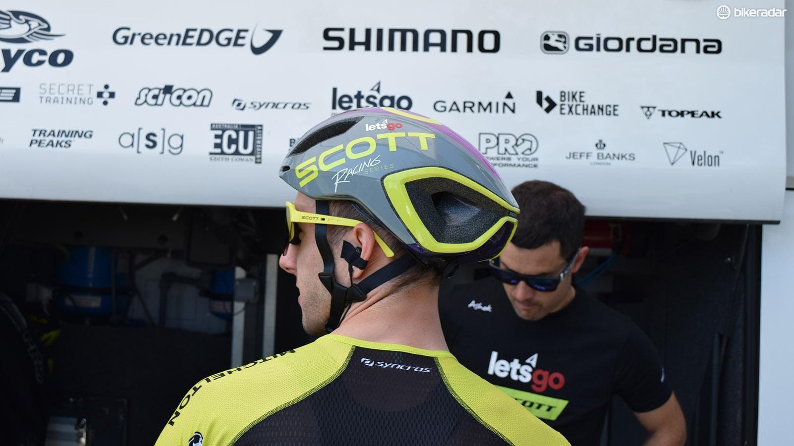 The helmets feature retro Scott decals
