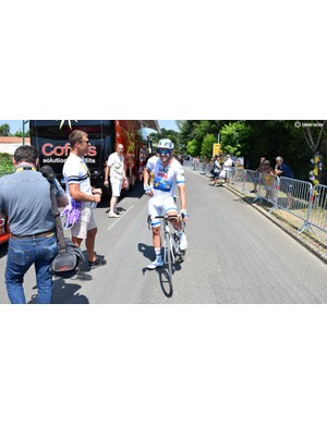 Alexander Kristoff wears the European road race champion's kit
