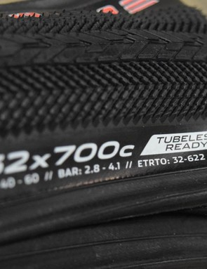 They have the lowest profile, with a raised centre section and herringbone shoulders, and come tubeless-ready