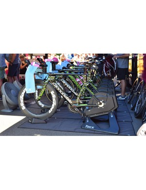 EF-Drapac's Cannondale SuperSlices lined up on static trainers ready for a team warm-up