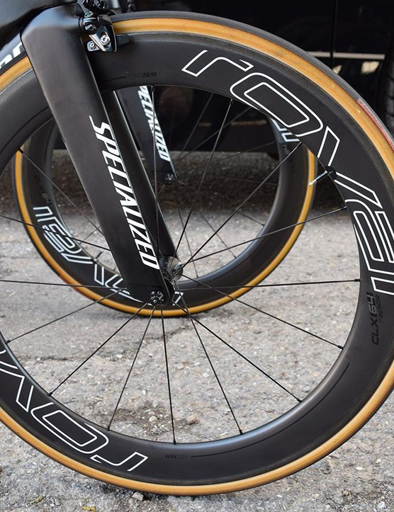Specialized's wheel brand Roval provides Sagan with a CLX 64 deep-rimmed, carbon front wheel