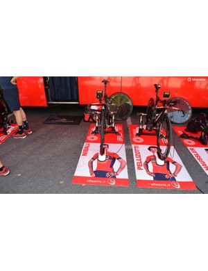 Bahrain-Merida have customised mats for each of their riders