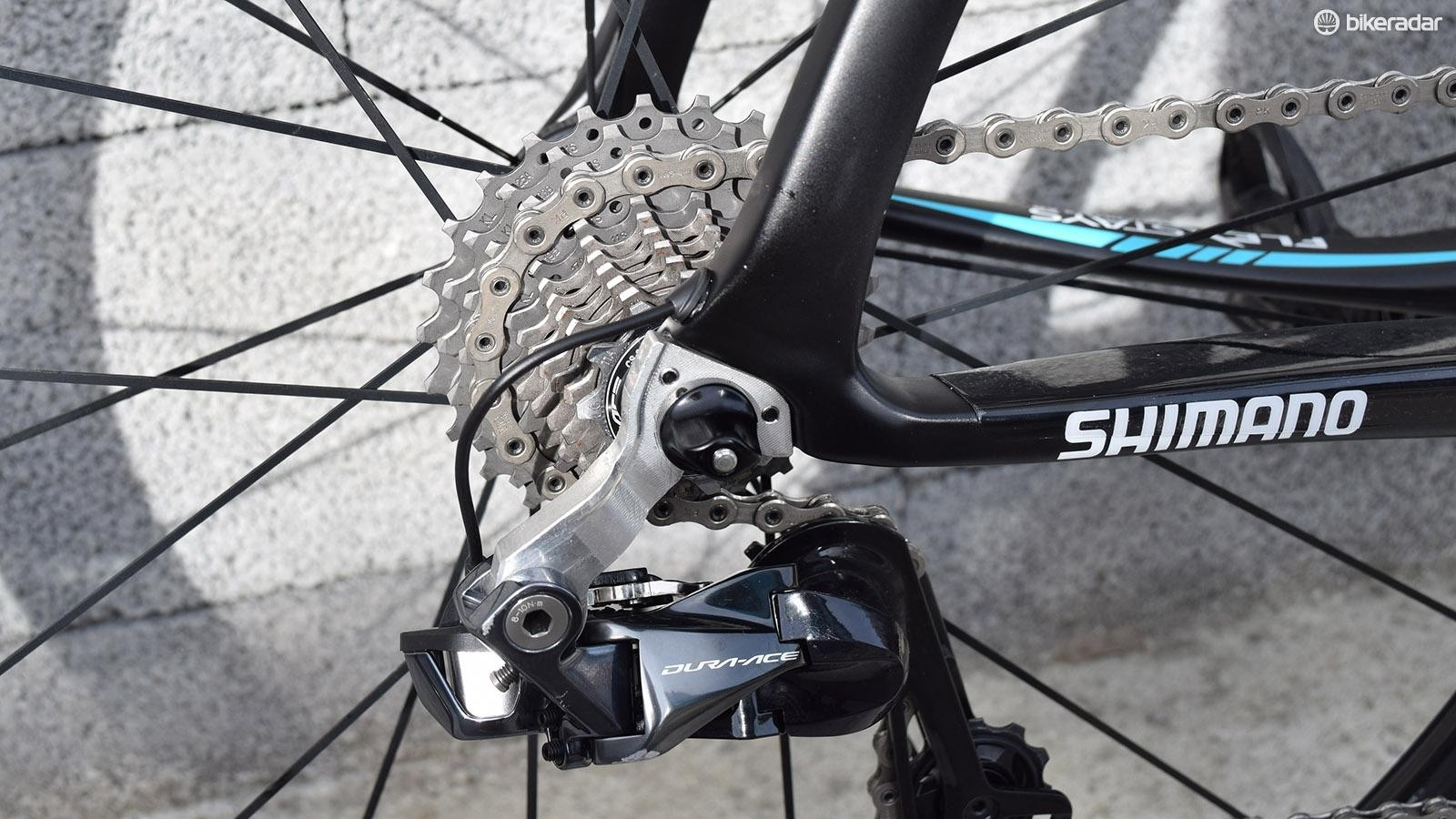 Pinarello have produced a custom rear derailleur hanger for the team, possibly for more stiffness and the Team Sky mechanics are happy with it, according to the team