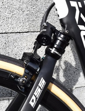 The Pinarello Dogma K10 has an electronic rear suspension system to increase compliance over the Paris-Roubaix cobbles