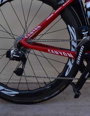 Haas's Canyon is paired with a SRAM Red eTap electronic wireless drivetrain