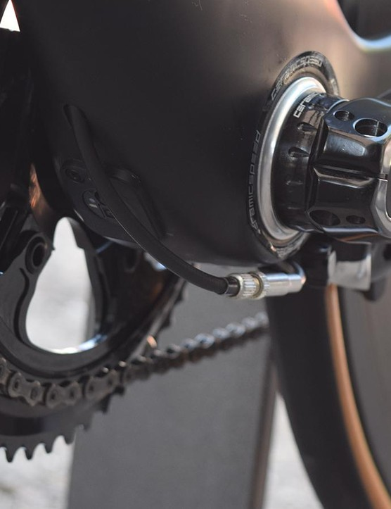 The rear brake is located on the underside of the bottom bracket to keep out of the wind
