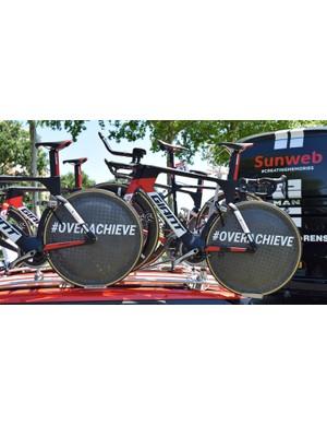 Team Sunweb use the hashtag #Overachieve on their wheels