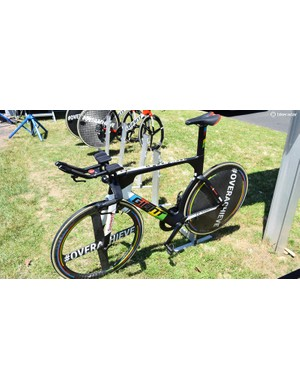 World time trial champion Tom Dumoulin had his custom time trial bike on display despite not being allowed to race upon it in the team time trial discipline