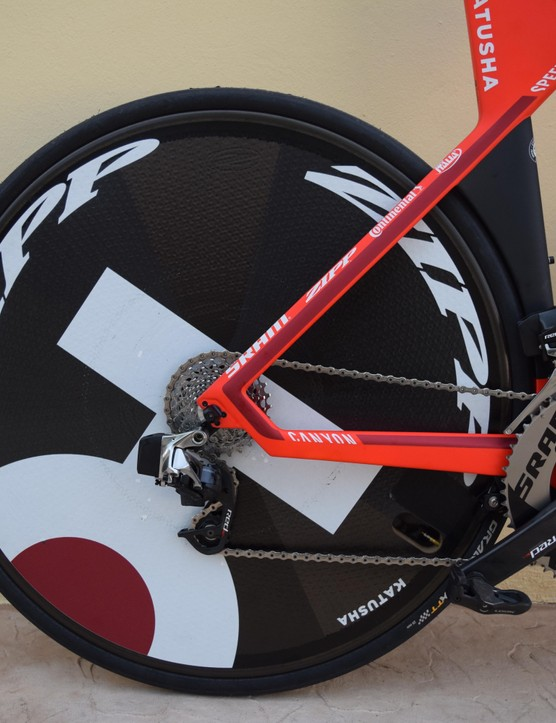 Katusha decals dominate the Zipp Super-9 carbon disc rear wheel
