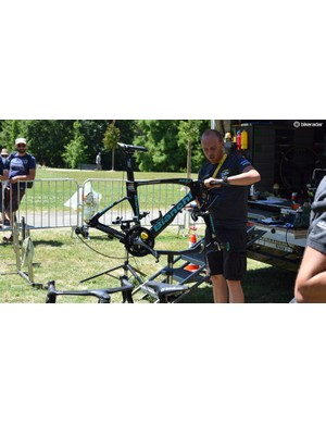 Time trial bikes were being adjusted less than an hour ahead of the stage