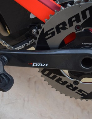 The crankset is equipped with a Quarq power meter