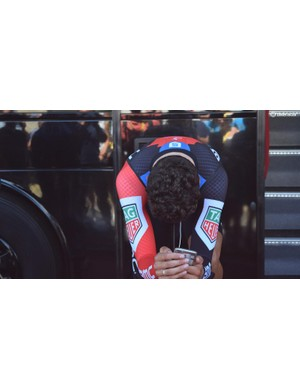 Greg Van Avermaet, who moved into the yellow jersey after the stage, warms-up in his time trial position ahead of the stage