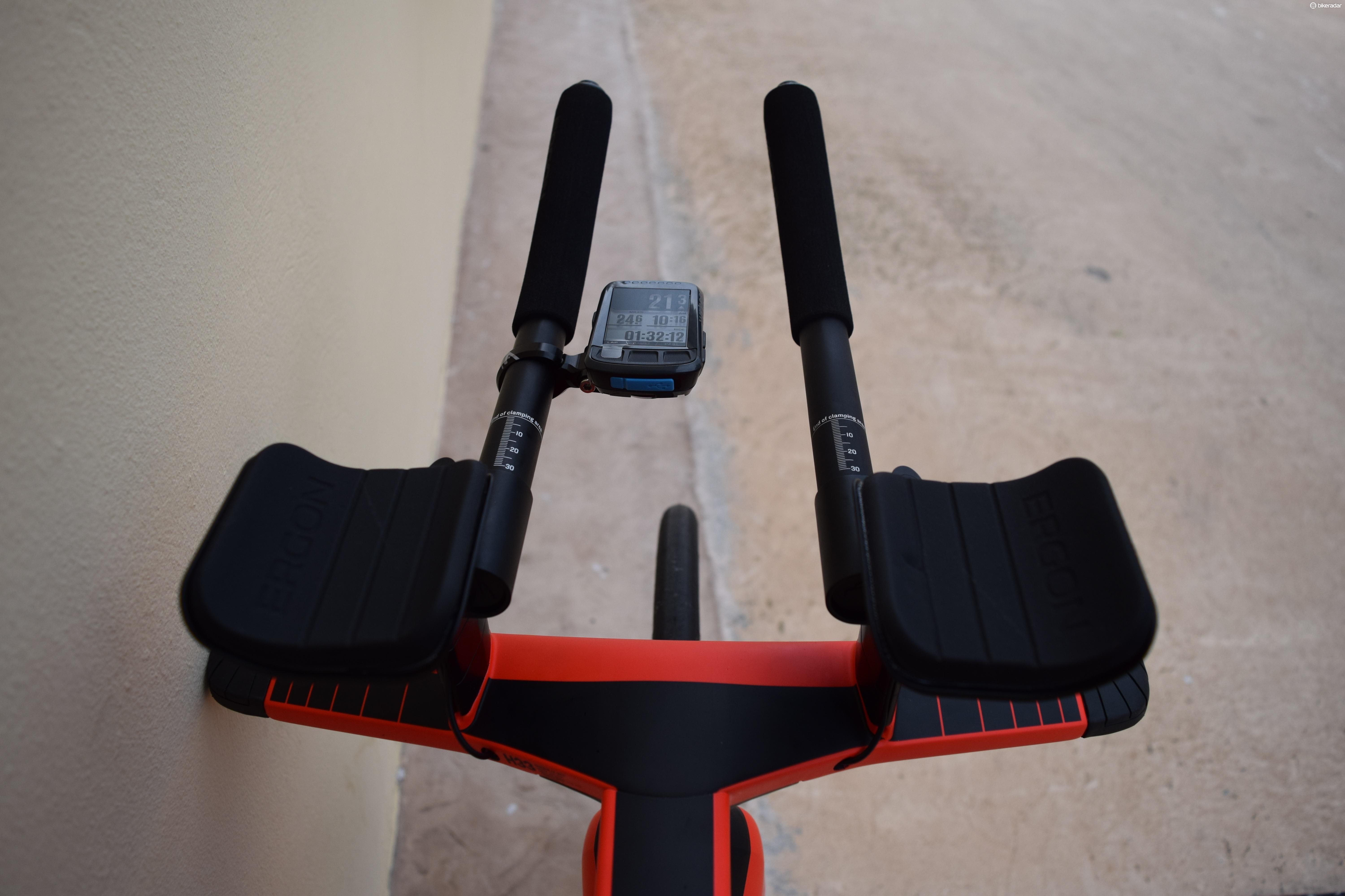 SRAM eTap Blips sit at the end of the handlebar extensions