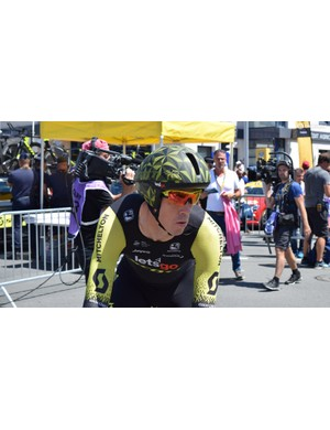 Mitchelton-Scott raced the stage on new aero-specific time trial helmets from Scott