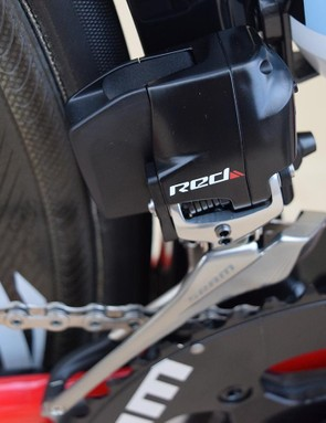 A close look at the SRAM Red eTap wireless and electric front derailleur