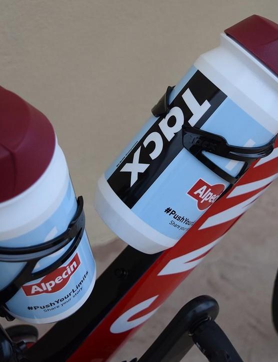 Katusha-Alpecin use Tacx Deva bottle cages and Tacx bottles