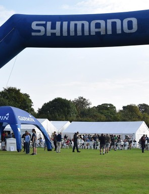 A small village is built for the day of the Garmin Ride Out with presence from a number of brands and teams