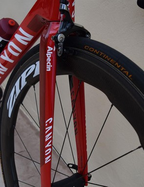 A look at the bladed spokes on the front end of the bike