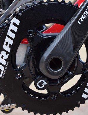 The crankset has a Quarq power meter and 53/39 chainrings
