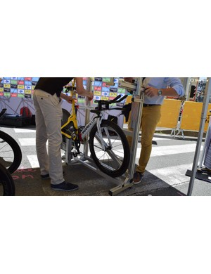 Egan Bernal, Colombia's national time trial champion, gets his bike assessed by the UCI ahead of the stage