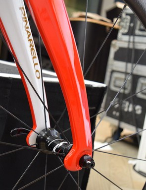 The Dogma F10 features aero tabs on the forks, which were first seen on Bradley Wiggins' Hour Record bike