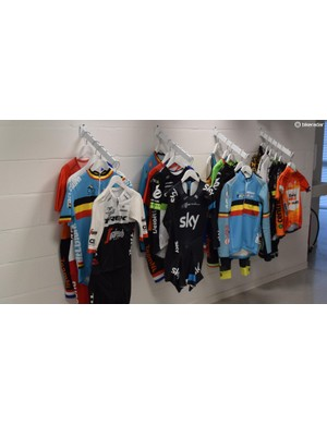 A wall of jerseys showcases some of the company's biggest projects